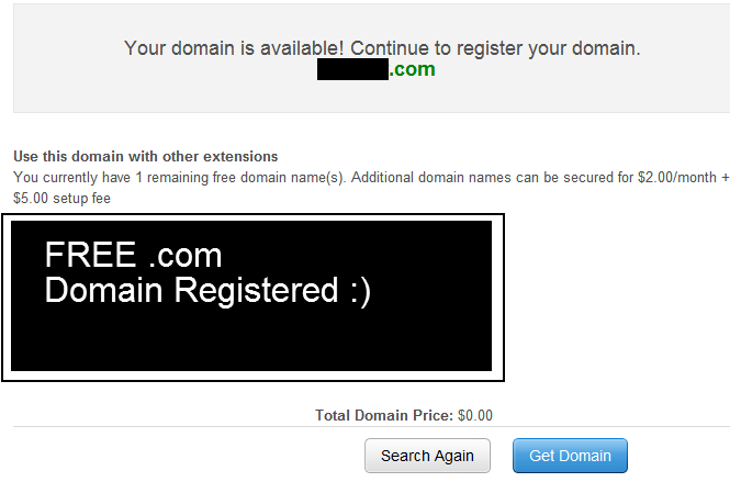 how to get free com domain and hosting