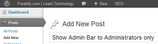 Admin Bar only to administrators
