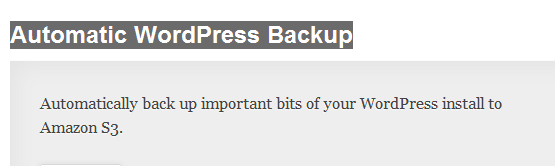 WordPress › Automatic WordPress Backup « WordPress Plugins image