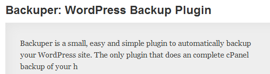 WordPress › Backuper WordPress Backup Plugin « WordPress Plugins image