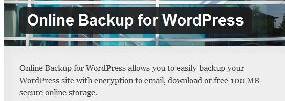 WordPress › Online Backup for WordPress « WordPress Plugins image