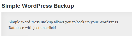WordPress › Simple WordPress Backup « WordPress Plugins1 image