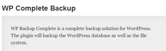 WordPress › WP Complete Backup « WordPress Plugins image