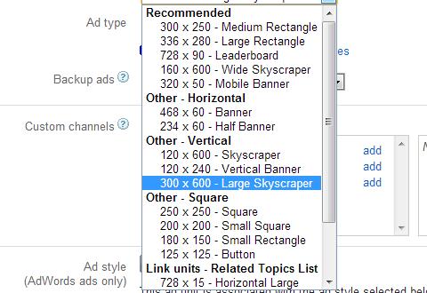 Google AdSense ad size 300x600