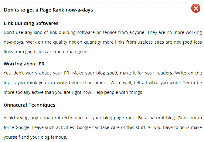 November Page Rank Update Tool 2012 donts