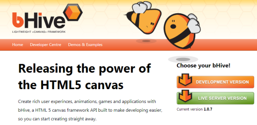 Create rich user experinces, animations, games and applications with bHive, a HTML 5 canvas framework API built to make developing easier, so you can start creating straight away.