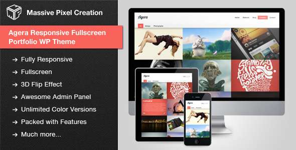 Agera Responsive Fullscreen Portfolio WP Theme - ThemeForest Item for Sale