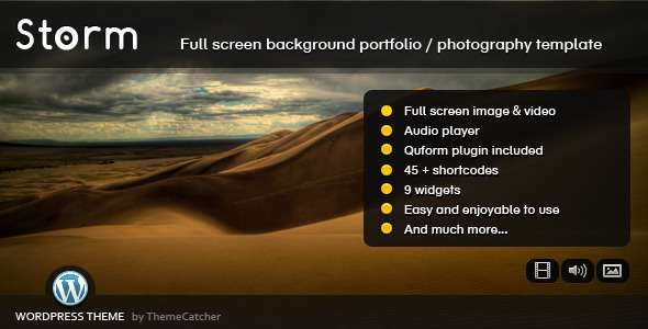 Storm WordPress - Full Screen Background Theme - ThemeForest Item for Sale
