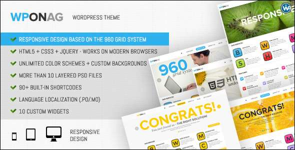 WPONAG: Digital Agency Responsive Portfolio - ThemeForest Item for Sale