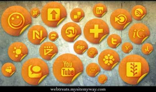 orange grunge stickers social bookmarking icons