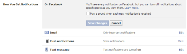 Fb notfication sound off