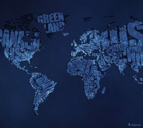 Typographic World Map 500x445 image