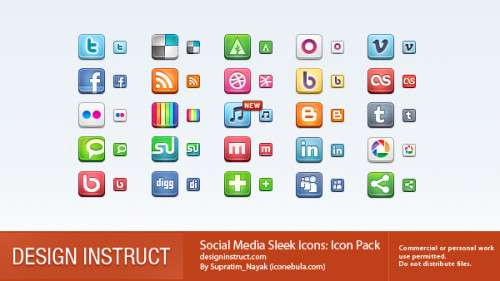 social media sleek icons: icon pack