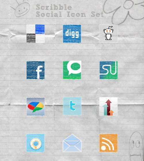 scribble social media icon set and tutorial