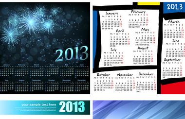 abstract 2013 calendar templates vector