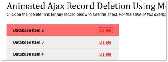 Animated AJAX Record Deletion Using MooTools