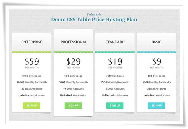 Beautiful CSS3 Table Pricing Style1 image