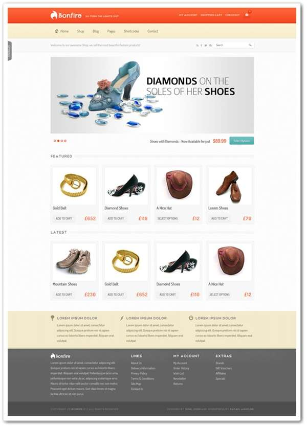 Freebies Bonfire eCommerce Theme PSD