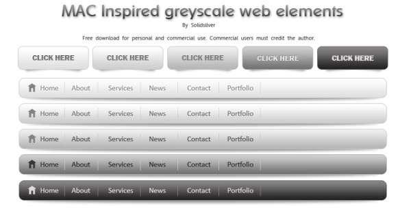 greyscale web elements