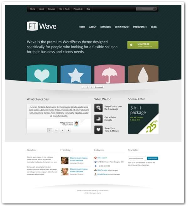 Homepage template for corporate website