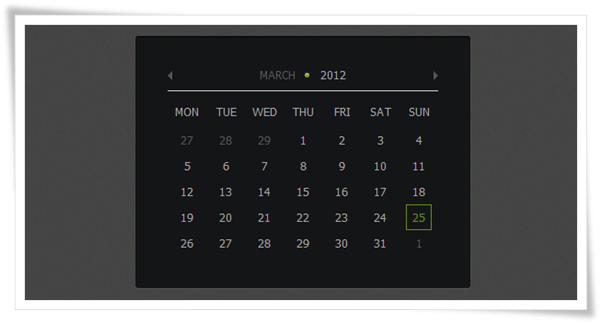 How to Create Calendar using jQuery and CSS3