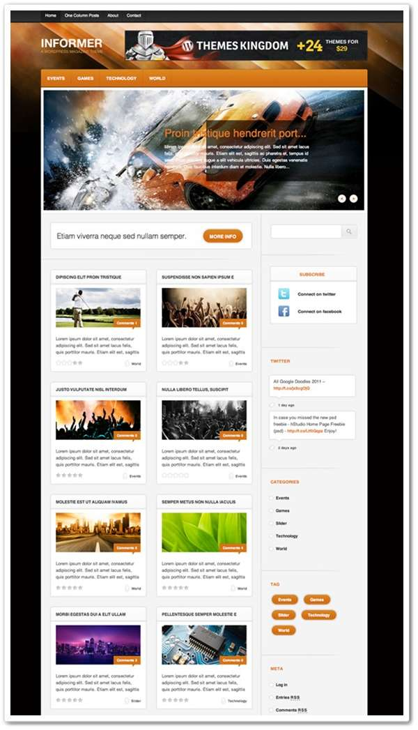 Informer Theme Home Page Freebie (PSD)