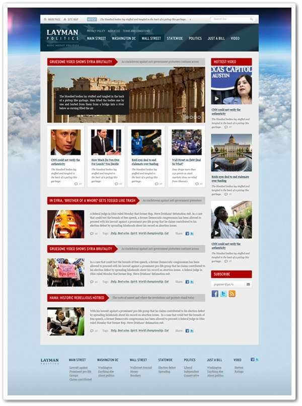 Layman Politics – News and Politics Free PSD Website Template