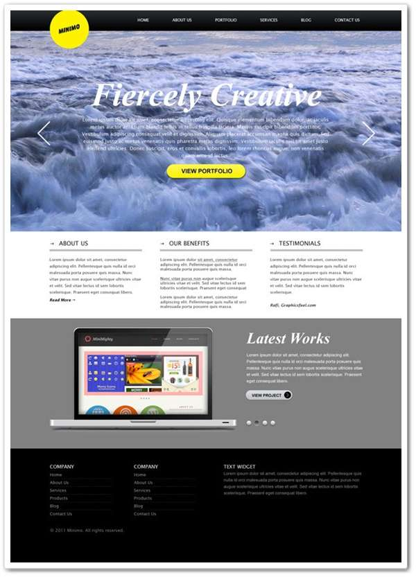 Minimal website with full screen background template (PSD)