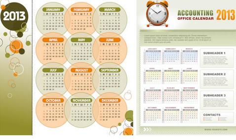 new year 2013 calendars vector