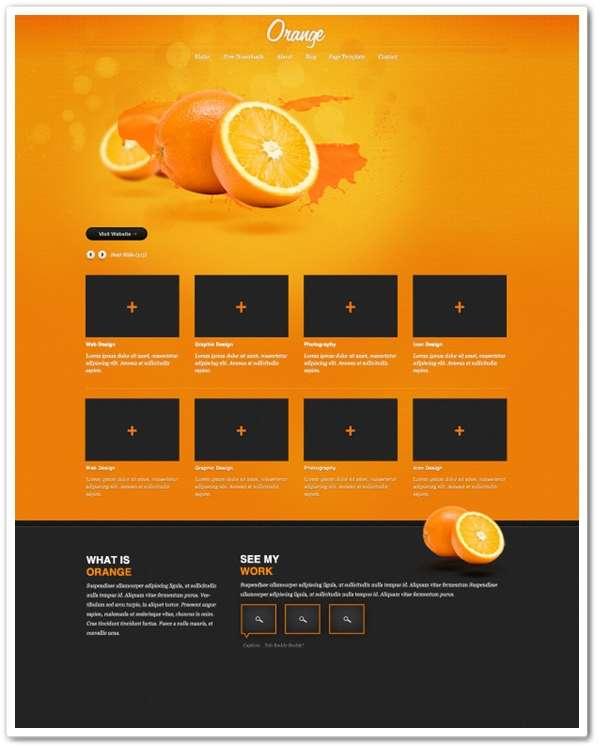 Orange A free psd website template