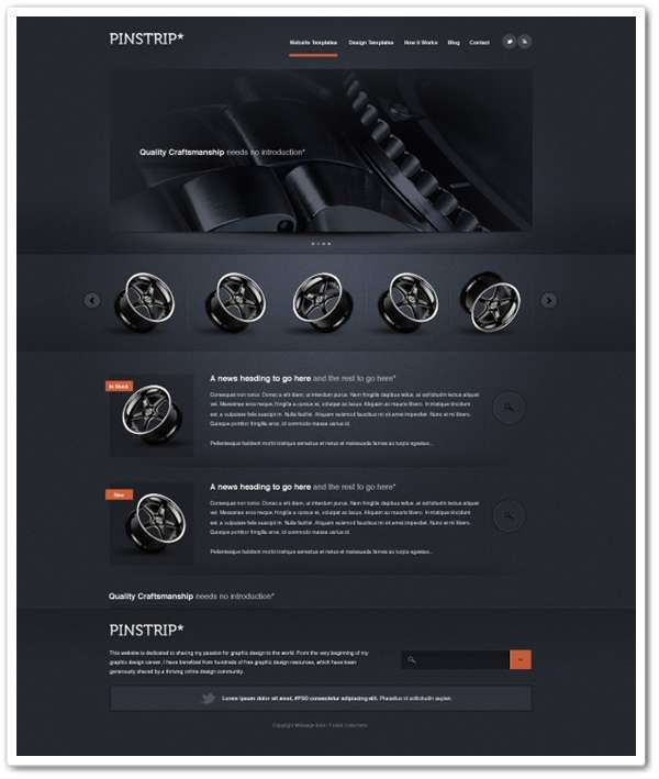 Pinstrip – A free website template PSD