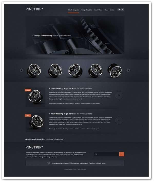 Pinstrip – A free website template PSD