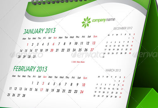 Beautiful Calendar Design : Beautiful and attractive calendar design with psd