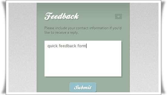 Quick Feedback Form ws PHP and jQuery