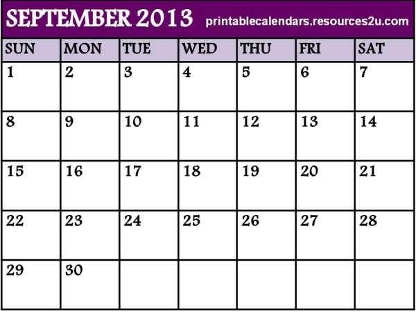 printable blank calendar template 2013 September