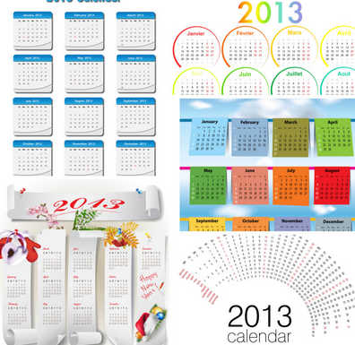 simple monthly calendars templates for 2013 vector