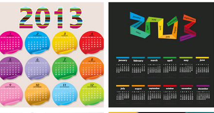 stylish 2013 calendar mockups vector