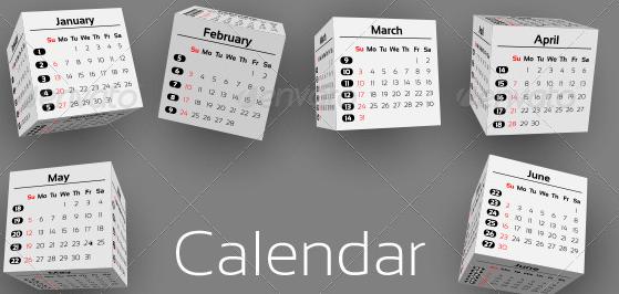 3D-cubes calendar 2013