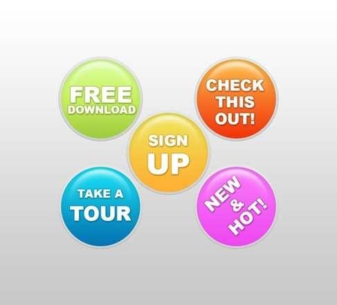 website buttons set PSD