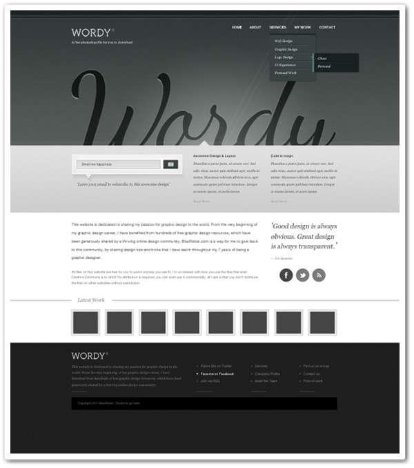 Wordy – A Free website PSD