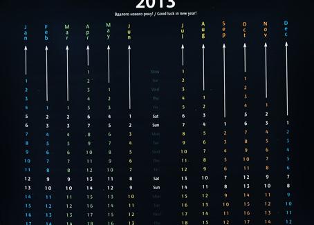 black Calendar 2013