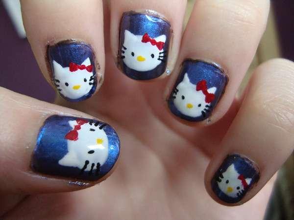 Acrylic New Nail Art Designs 2013 kitten (24)