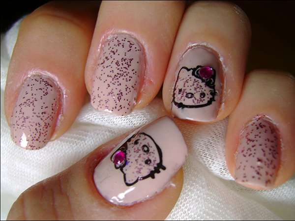 Acrylic New Nail Art Designs 2013 kitten (12)