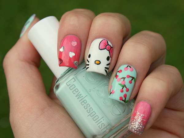 Acrylic New Nail Art Designs 2013 kitten (14)