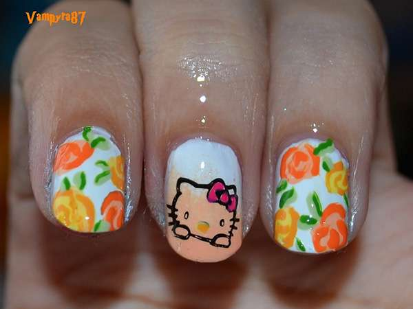 Acrylic New Nail Art Designs 2013 kitten (9)