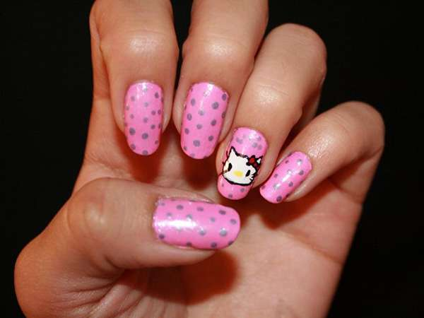 Acrylic New Nail Art Designs 2013 kitten (7)