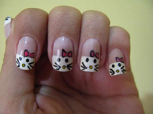 Acrylic New Nail Art Designs 2013 kitten (1)