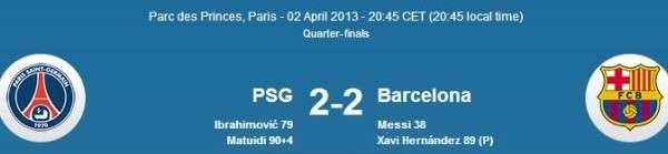 Barcelona vs PSG UEFA Champions League 1-1