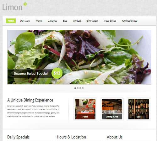 Limon - A Restaurant and Spa WordPress Theme