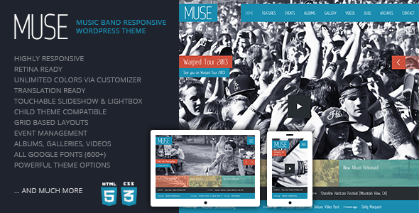 Muse: Music Band Responsive WordPress Theme - Entertainment WordPress